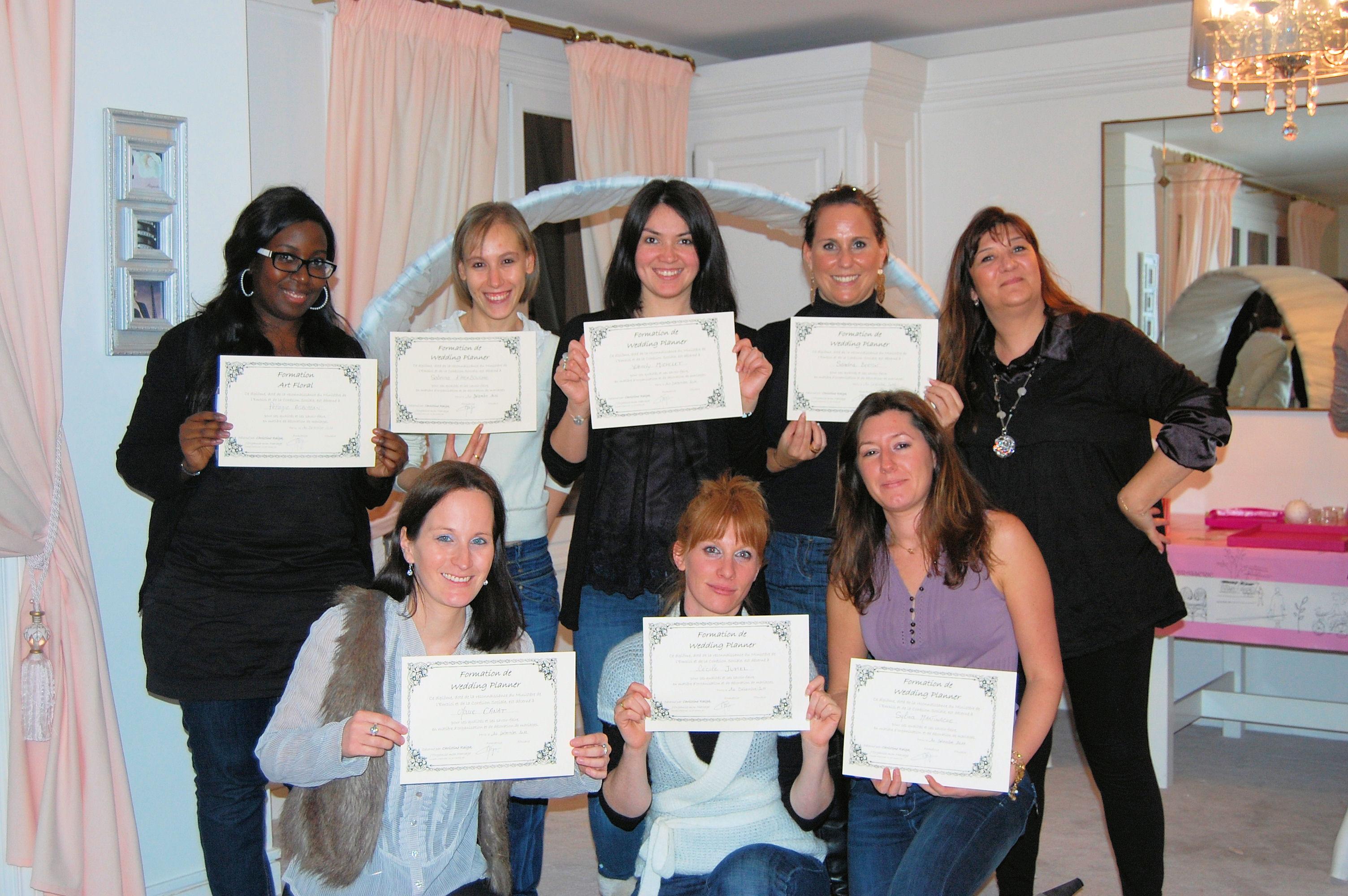 remise de certificat formation wedding planner professionnel
